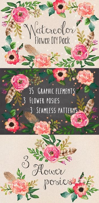 Watercolor Flower DIY Pack Vol.1 by Graphic