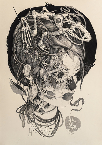 Sprawling Tattoo-Inspired Ink Drawings by 'Benze'