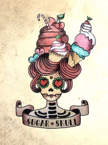 Funny tattoo flash. Sugar skull design with hair made from sweets. #tattoo #tattoos #ink #inked