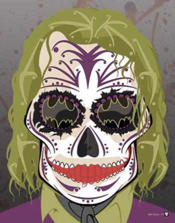 The Joker Sugar Skull Print from Etsy seller NutCracks. He has Batman in his sights