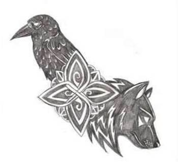 Wolf And Raven Tattoo By Navina On DeviantART I like the wolf but might change the raven a bit