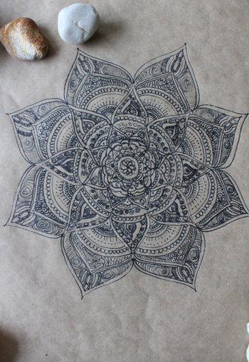 Original Hand Drawn Mandala: Ink on Recycled Paper.