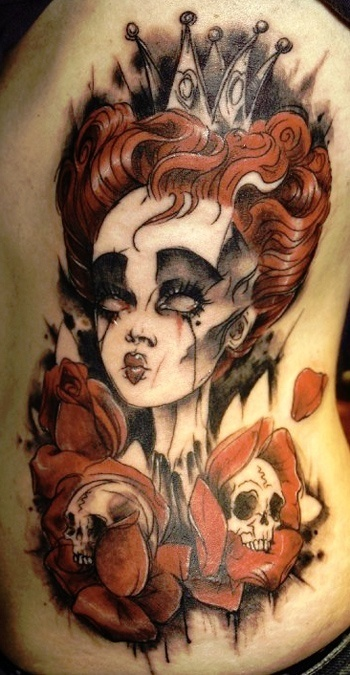 The Red Queen, Alice in Wonderland tattoo. Artist: Alix Tattoo