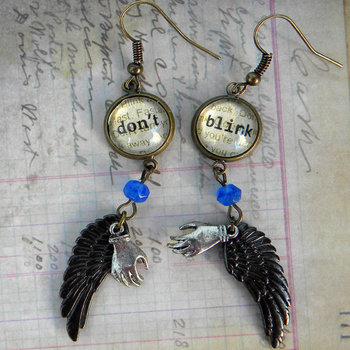 Doctor WHO Earrings Beware The WEEPING ANGELS Don't by Msemrick, $22.00