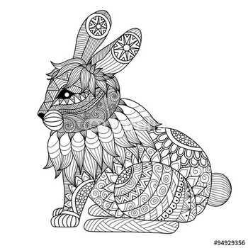 """Drawing zentangle rabbit for coloring page, shirt design effect, logo, tattoo and decoration."" Stock image and royalty-free vector files on Fotolia.com - Pic 94929356"