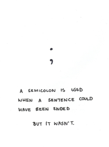 The Semicolon Project is a Non-Profit Organization dedicated to presenting hope, help, and support to