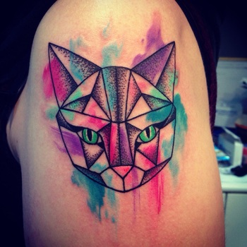 SPACE CAT - geometric lines with dot shading and water colour detail by Nadia at eclectic ink in Glas