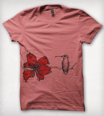 Pink Hummingbird & Flower T-Shirt