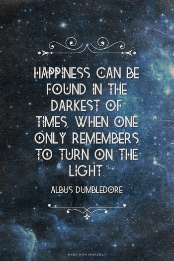 Happiness can be found in the darkest of times, when one only remembers to turn on the light. - Albus