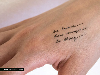 Brave Courage Strong Temporary Tattoos Small Tiny Handwritten Cursive Script Calligraphy