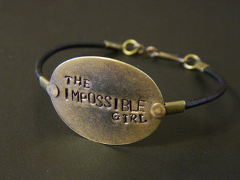 Doctor Who The Impossible Girl Metal Stamped Hand Made Leather Cord Bracelet