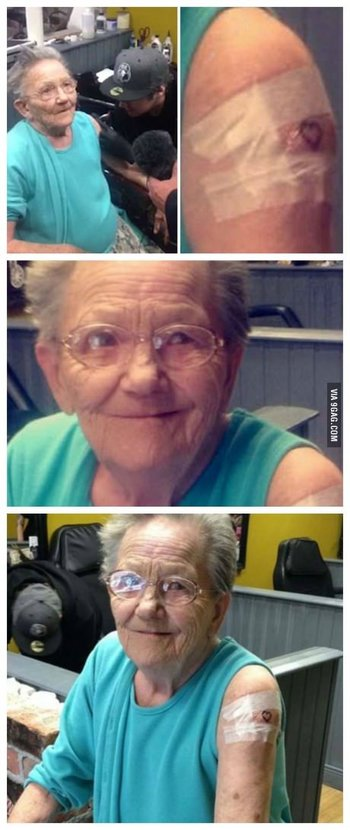 She escaped from a nursing home and was found getting tattooed for the first time.