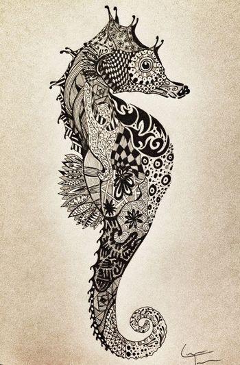 SeaHorse Zentangle Design by TelferZentangle on...