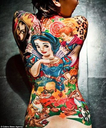 Stunning Disney back piece. Super vibrant color work.