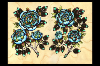 Blue Roses Tattoo Art A3 Print