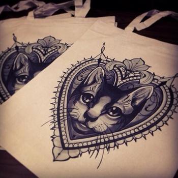 Cat tattoo ideas. Love the framing!!