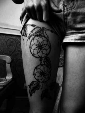 Leg tattoo for fashion girls.Design tattoo for girls