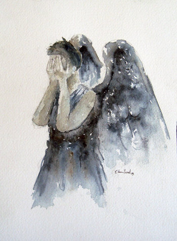 """Doctor Who """"Weeping Angel"""" Fine Art Print of my original illustration in various sizes on Etsy, $8.00"""