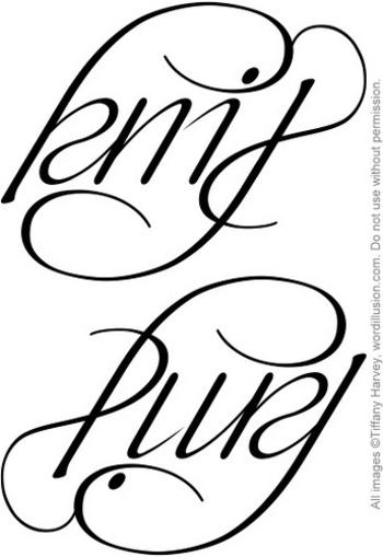 """Knit"" & ""Purl"" Ambigram v.2 by tiffanyharvey, via Flickr"
