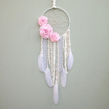 Pink and White Dreamcatcher with Pink Flowers