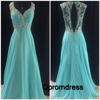 mint sequins beading see-through V-neck unique back design chiffon evening dress prom dress