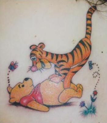 Winnie The Pooh And Tiger Tattoo