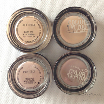 DUPE ALERT: Maybelline Color Tattoos in Just Beige and Nude Pink vs. MAC Pro Longwear Paint Pots in S
