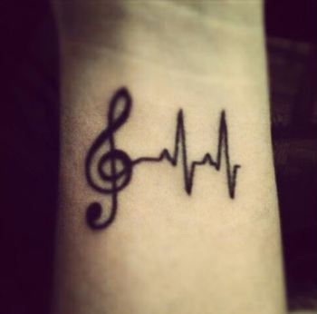 I want something like this only with a cross instead of the music note and white ink.