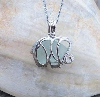 Pale Aqua Sea Glass Elephant Necklace Locket by Wave of Life