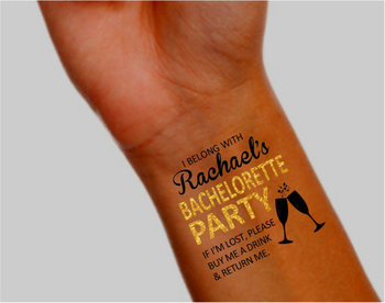 Bachelorette Tattoos - Bachelorette Party Favor - Temporary Tattoos -  Pack of 10 - Includes One Bride Tattoo - Faux Metallic Gold Accent