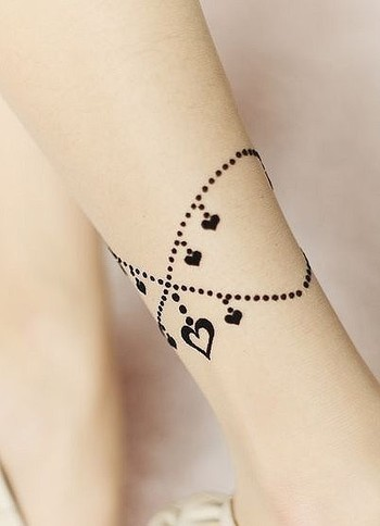 SIMPLE HEARTS AND DOTTED TATTOOS ON ARM - Tattoosgallaries