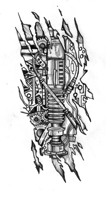 Biomechanic Lightsaber Tattoo Design by CustomArtwerk.deviantart.com on @deviantART