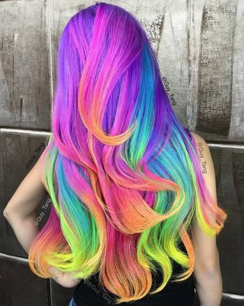 """Guy Tang on Instagram: """"#FruityPebbles #neon #unicorn  #princess #hair ❤️Thanks for tuning in to #periscope to see all the fun behind this #rainbow…"""""""