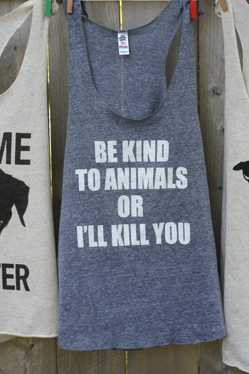 Animal rights rescue remake Charcoal grey t shirt Be kind to animals. Tongue and cheek vegan-Womens X