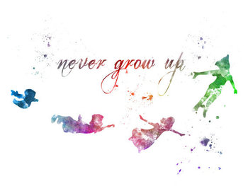 Peter Pan Quote 'Never Grow Up' ART PRINT illustration, Disney, Mixed Media, Home Decor, Nursery, Kid