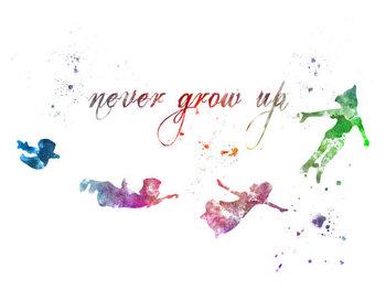 Peter Pan Quote 'Never Grow Up' ART PRINT illustration, Disney, Mixed Media, Home Decor, Nursery, Kid