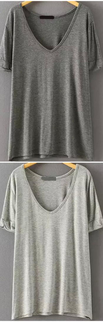 Super soft cotton loose t-shirt at romwe.com. Four cold colors here.Come&Sign up for up to 60% off wi