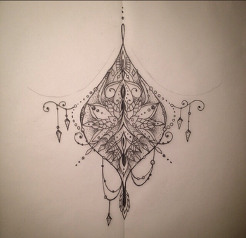 Sternum tattoo. Really like the asymmetry and loose boho look. Especially the top loop. Would maybe b