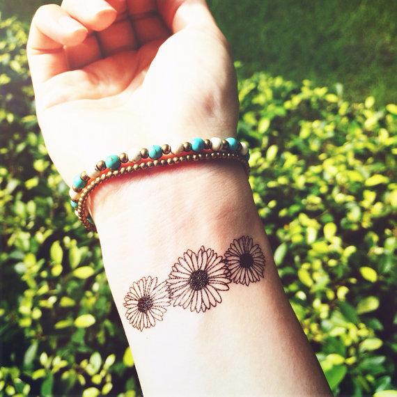 3pcs daisy floral tattoo inknart temporary tattoo wrist quote tattoo body sticker fake tattoo wed original
