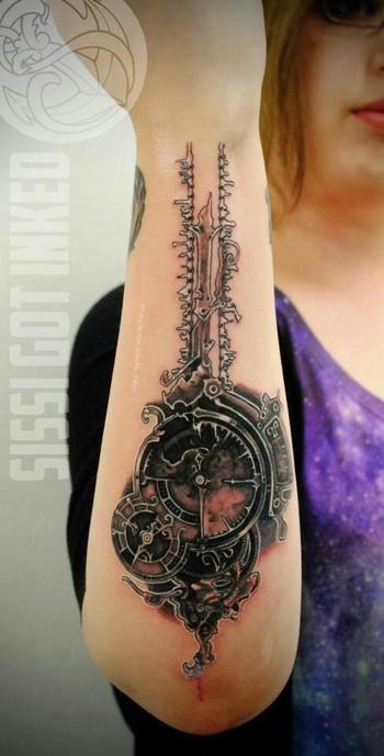 Steampunk watch tattoo by Panda Conny