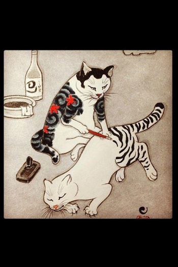 Tebori cat tattoos- cats in disguise with henna? Paint? Super cute
