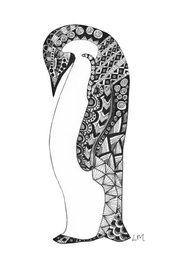 Pattern Penguin B&W Art Print by Laura Maxwell