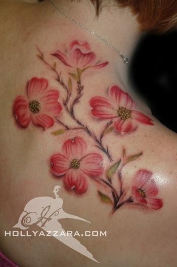 Brush Paint pink dogwoods shoulder