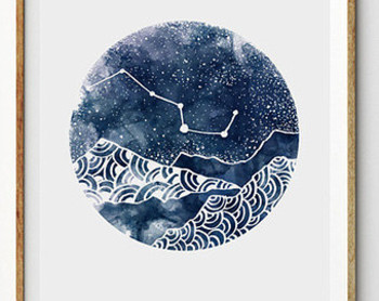 Geometric Art Moon Galaxy Sky Space Stars Print Geometric Watercolor Art Astronomy Science Wall Art Home Decor Nebula Dreamy luna home decor