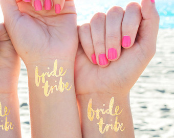 Set of 15 team bride bachelorette party favor bachelorette tattoo flash tattoo gold tattoo bridal party bridesmaid gift hens party game original