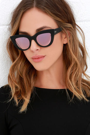 Quay Kitti Black and Pink Mirrored Cat Eye Sunglasses