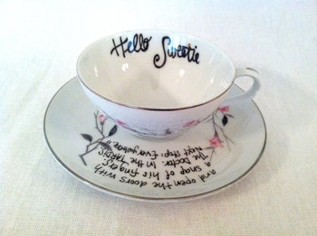 "Doctor Who HELLO SWEETIE Vintage Teacup and Saucer - ""Next stop: Everywhere"" River Song Quote. $16.00"