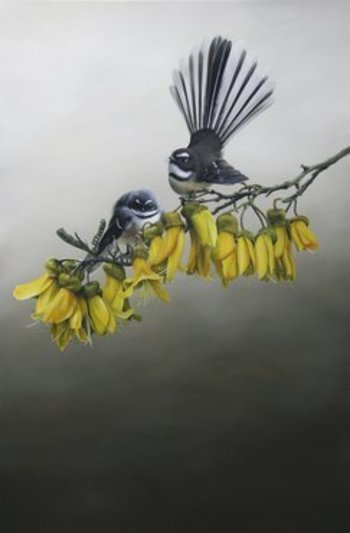 """Jane Crisps """"Home in the Kowhai"""" Detail is amazing!"""