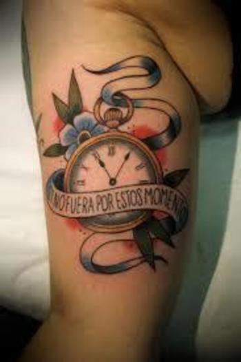 neo traditional pocket watch tattoo