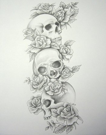 Image detail for -Skull Roses Sleeve by ~DanielleHope on deviantART. would be really pretty with butt